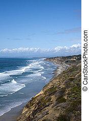 san diego, kusten, met, grote oceaan, golven