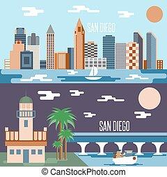 San Diego landmarks horizontal flat design vector banners