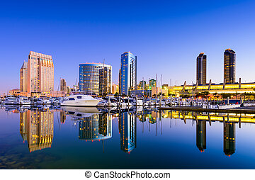San Diego Marina - San Diego, California, USA skyline at the...