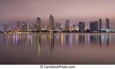 San Diego Midnight - San Diego Skyline from Coronado late at...