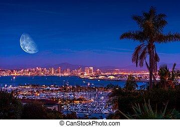 San Diego Night with Moon - San Diego Night with Large Moon ...