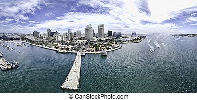 San Diego Panoramic - Aerial panoramic of San Diego,...