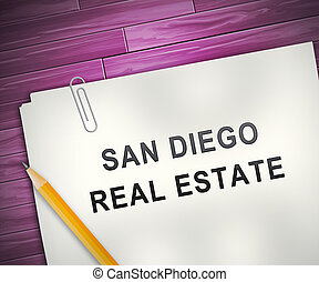 San Diego Real Estate Property Report Depicting Housing In California - 3d Illustration