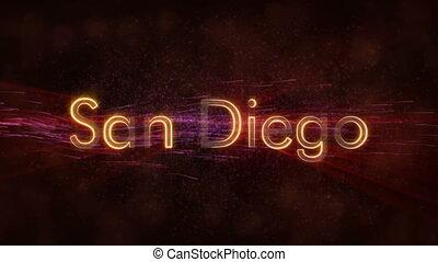 San Diego - Shiny looping city name text animation - San...