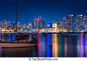 San Diego Skyline at Night. San Diego, California, United ...