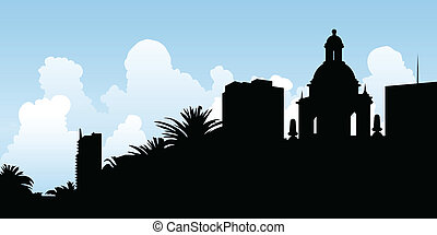 San Diego Skyline - Skyline silhouette of the city of San...