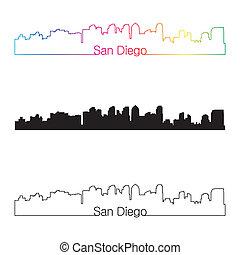 San Diego skyline linear style with rainbow in editable...