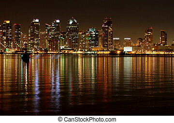 San Diego Skyline Night - The skyline of San Diego at night...