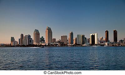 San Diego skyline on clear evening