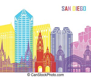 San Diego skyline pop in editable vector file