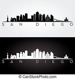 San Diego skyline silhouette - San Diego USA skyline and...