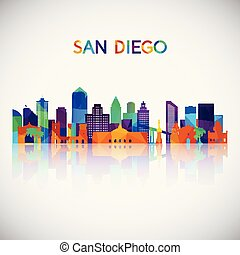 San Diego skyline silhouette in colorful geometric style.