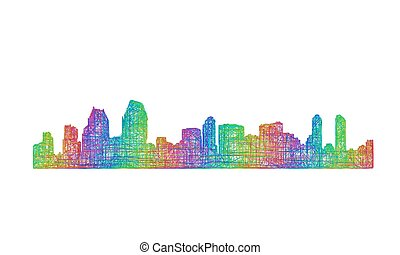 San Diego skyline silhouette - multicolor line art