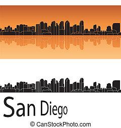 San Diego skyline in orange background in editable vector...