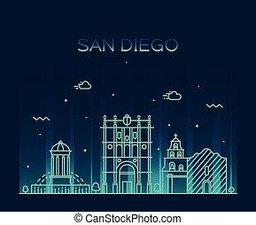 San Diego skyline vector illustration linear