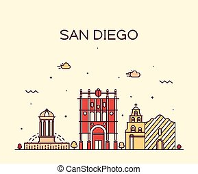 San Diego skyline vector illustration linear - San Diego...