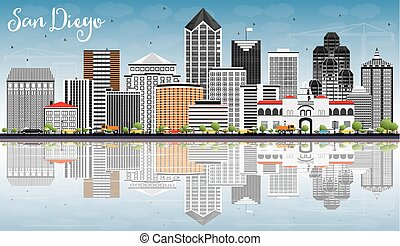 San Diego Skyline with Gray Buildings, Blue Sky and Reflections.