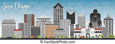 San Diego Skyline with Gray Buildings and Blue Sky. Vector...