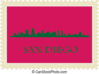 San Diego stamp - San Diego high rise buildings skyline...