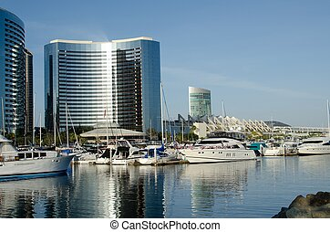 San Diego - hotels and buildings in San Diego near a bay and...