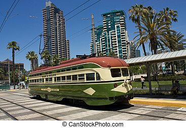 San Diego - Trolley car in San Diego in California