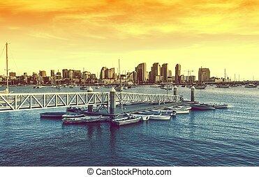 San Diego Sunset. San Diego Skyline and the Bay with Marina....