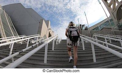 San Diego tourist backpacker woman - tourist backpacker...