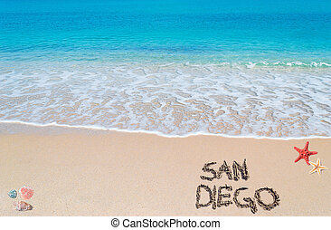 """turquoise water and golden sand with shells and sea stars with """"san diego"""" written on it"""