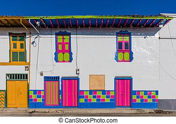 San Felix Salamina Caldas Colombia - colorful buildings of...