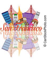 San Francisco Abstract Skyline Golden Gate Bridge Reflection