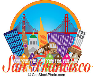 San Francisco Cailfornia Abstract Downtown City Skyline with Golden Gate Bridge and Cable Car Isolated on White Background Illustration