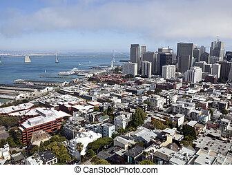 San Francisco Aerial - View of San Francisco and the Bay...