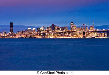 San Francisco and Bay Bridge at night