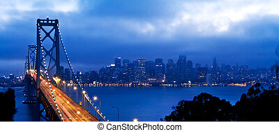 San Francisco and Bay Bridge - San Francisco and bay bridge,...
