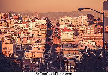 San Francisco Architecture. San Francisco Residential Hills....