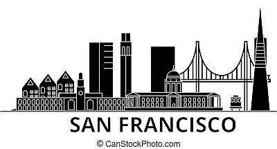 San Francisco architecture vector city skyline, travel cityscape with landmarks, buildings, isolated sights on background