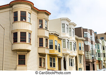 San Francisco architecture, wooden houses on hill. San...