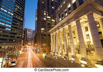 San Francisco at night - Blue Sky Sunset Evening traffic at...