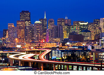San Francisco at night - Skyscrapers and freeways in San...