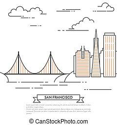 San Francisco banner city landscape Line art