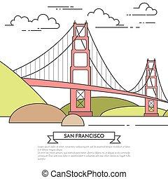 San Francisco banner with famous bridge Golden Gate Line art