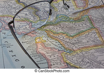 San Francisco Bay area on a vintage map with reading glasses