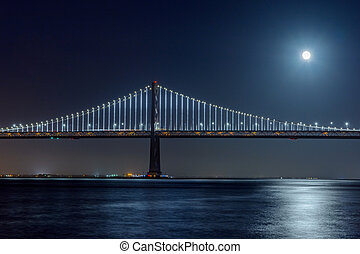 San Francisco Bay Bridge at Night During A Full Moon From Pier Seven