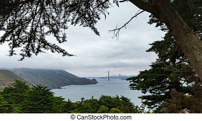 San Francisco Bay Time-lapse - Framed by trees, San...