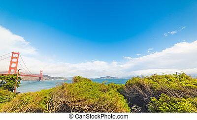 San Francisco bay under a blue sky