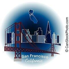 San Francisco blue skyline building