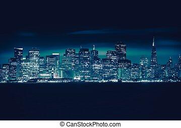 San Francisco Blue Skyline Photo Concept. San Francisco...