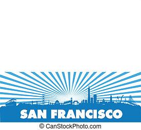San Francisco Blue sun rays silhouette - San Francisco City...