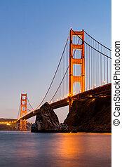 ?san, francisco, brama złotego most, na, zachód słońca