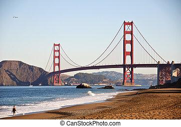 san francisco, brama złotego, przez, piekarz plaża
